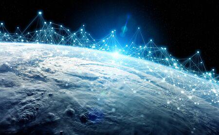 Wereldwijde gegevensuitwisselingen en futuristisch verbindingssysteem over de hele wereld 3D-rendering Stockfoto
