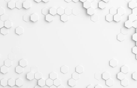 White abstract hexagonal background pattern 3D rendering