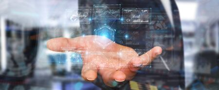 Businessman on blurred background using digital technological interface with datas 3D rendering