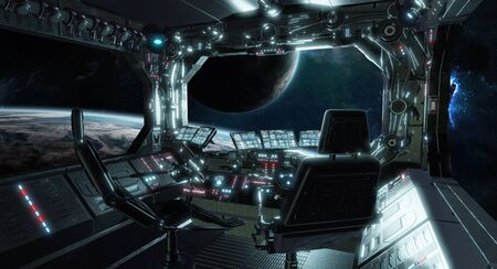 Spaceship grunge interior control room with seats and view on space 3D rendering