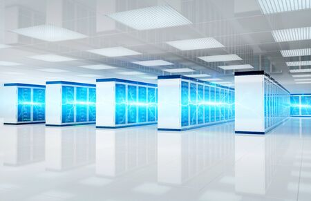 Electricity lightning in white servers data center room storage systems 3D rendering Banque d'images - 131207180