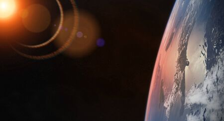 View of blue planet Earth close up with atmosphere during a sunrise 3D rendering Фото со стока