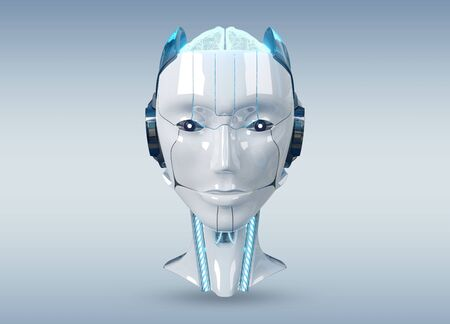 White and blue female cyborg robot head isolated on grey background with shadow 3d rendering Stock fotó