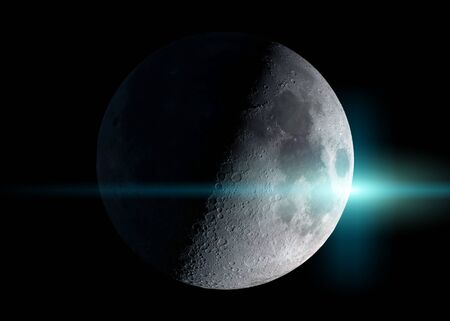 View of an half moon in space with stars in the background 3D rendering Фото со стока