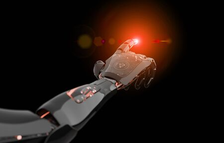 Black and red intelligent robot cyborg arm pointing finger on dark background 3D rendering