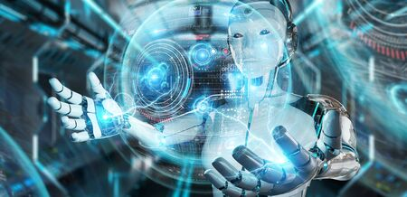 White humanoid robot on blurred background using digital technological interface with datas 3D rendering Stock fotó