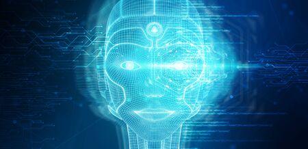 Robotic woman cyborg face representing artificial intelligence concept 3D rendering Фото со стока