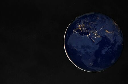View of blue planet Earth at night with cities lights on Europe and Africa 3D rendering 版權商用圖片