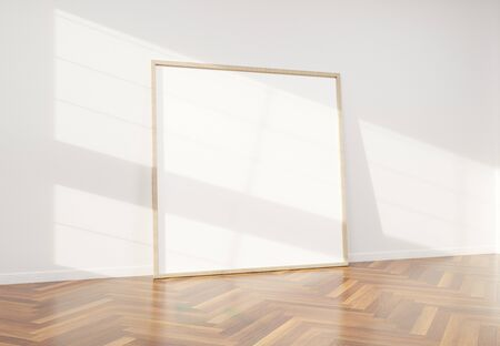 Squared wooden frame leaning in bright white interior with wooden floor mockup 3D rendering Фото со стока