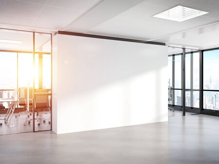 Blank white wall in bright concrete office with large windows Mockup 3D rendering