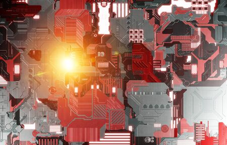 Futuristic red and orange tech panel texture background with lots of details
