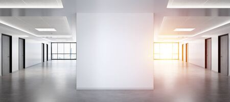 Blank squared wall in bright office mockup with large windows and sun passing through 3D rendering Stok Fotoğraf