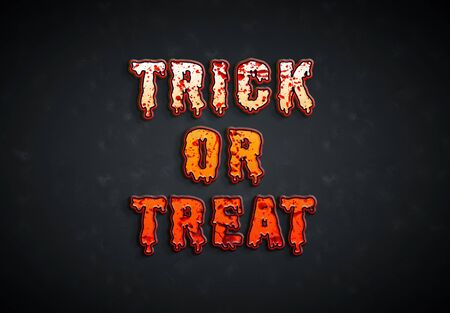 Happy Halloween orange bloody pumpkin card text on dark background