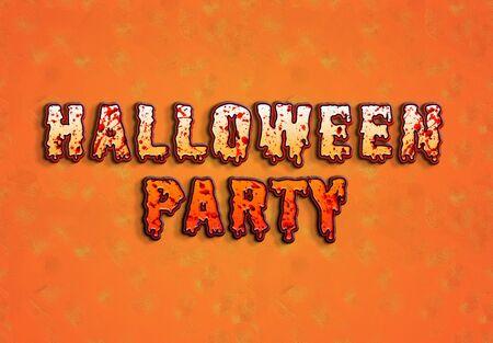 Happy Halloween bloody pumpkin card text on orange background