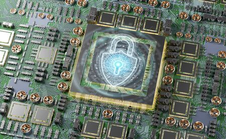 Close-up view of a modern GPU card circuit with cyber security activated 3D rendering