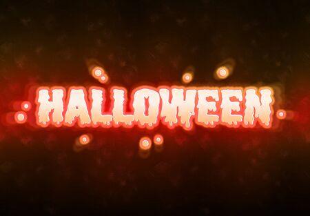 Happy Halloween orange ghost card spirit effect on dark background Фото со стока