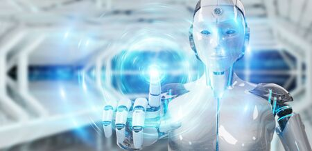 White humanoid robot on blurred background creating new futuristic energy power source 3D rendering