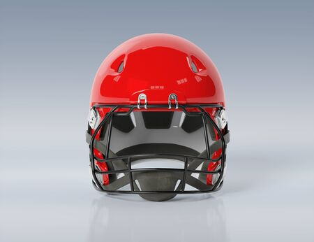 Red American football helmet isolated on grey background mockup 3D rendering Foto de archivo