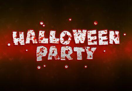 Happy Halloween red bloody vampire card text on dark background