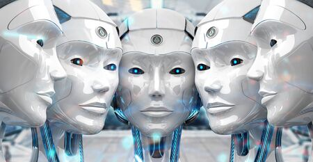 Group of female robots heads close to each others cyborg army concept 3d rendering