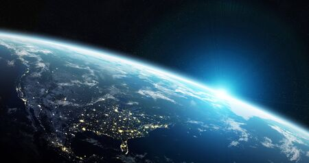 View of blue planet Earth in space with her atmosphere America continent 3D rendering elements of this image furnished by NASA Banco de Imagens - 131845484