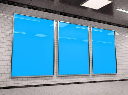 Vertical triple A4 underground billboard frame Mockup 3D rendering Stok Fotoğraf