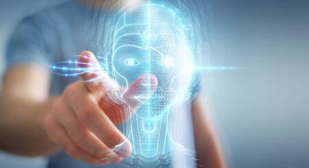 Businessman on blurred background using digital artificial intelligence head interface 3D rendering Stok Fotoğraf