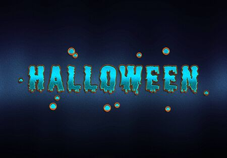Happy Halloween blue goblin card effect on dark background