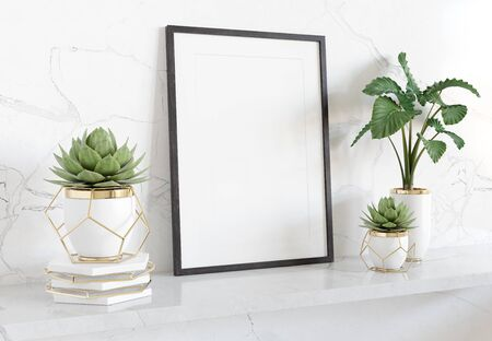 Black frame leaning on white shelve in bright marble interior with plants and decorations mockup 3D rendering
