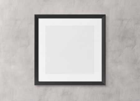 Black squared wooden frame on concrete wall background 3D rendering Фото со стока