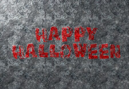 Happy Halloween grunge card red text on metal damaged iron background Фото со стока