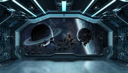 Dark blue spaceship futuristic interior with window view on space and planets 3d rendering elements of this image furnished by NASA