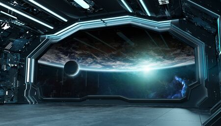 Dark blue spaceship futuristic interior with window view on planet Earth 3d rendering elements of this image furnished by NASA Zdjęcie Seryjne