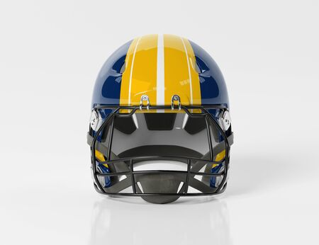 Blue and yellow American football helmet isolated on white background mockup 3D rendering