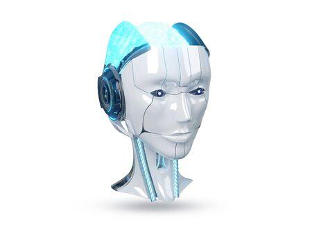 Tête de robot cyborg femelle blanche et bleue isolée sur fond blanc avec rendu 3d de l'ombre