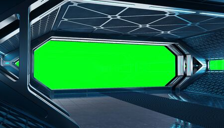 Dark blue spaceship futuristic interior mockup with window view 3d rendering
