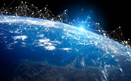 Global datas exchanges and futuristic connections system over the globe 3D rendering