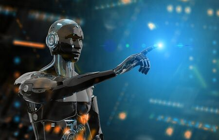 Black and blue intelligent robot cyborg pointing finger on dark background 3D rendering