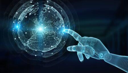 Wireframed blue robot hand touching digital world map on dark background 3D rendering Reklamní fotografie