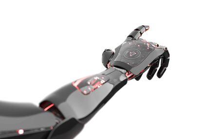 Black and red intelligent robot cyborg arm pointing finger on white background 3D rendering Reklamní fotografie