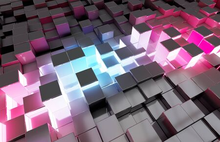 Glowing black blue and pink abstract squares background pattern 3D rendering Standard-Bild - 132982056