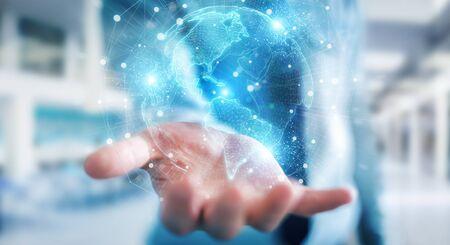 Businessman on blurred background using America Usa map globe network hologram 3D rendering