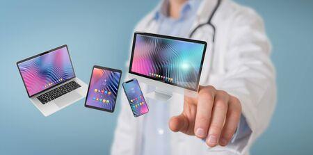 Scientist on blurred background connecting modern smartphone tablet laptop and computer 3D rendering Reklamní fotografie