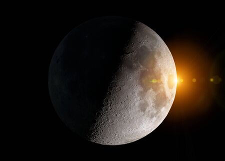 View of an half moon in space with stars in the background 3D rendering Stock fotó
