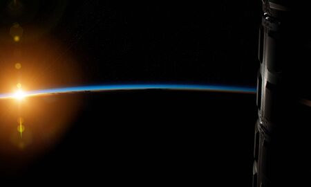 View of blue planet Earth horizon from a space station window during a sunrise 3D rendering