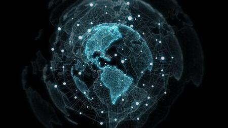 Global network on planet Earth blue background 3D rendering 版權商用圖片