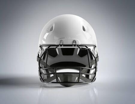 White American football helmet isolated on grey background mockup 3D rendering
