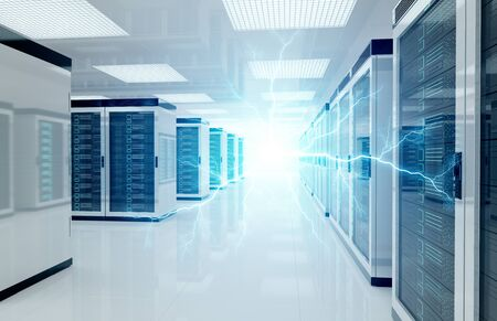 Electricity lightning in white servers data center room storage systems 3D rendering