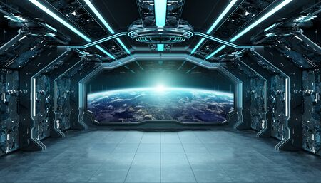 Dark blue spaceship futuristic interior with window view on planet Earth 3d rendering Stock fotó