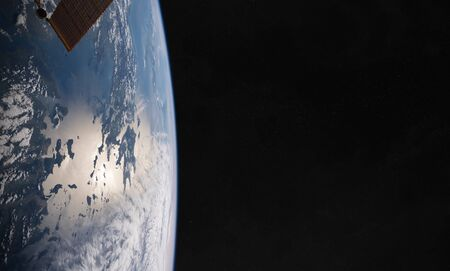 View of blue planet Earth close up with atmosphere during a sunrise 3D rendering Banco de Imagens
